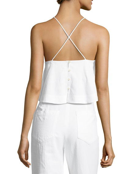 Easton Flared-Hem Poplin Crop Top, White