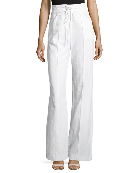 Archie High-Waist Poplin Pants, White
