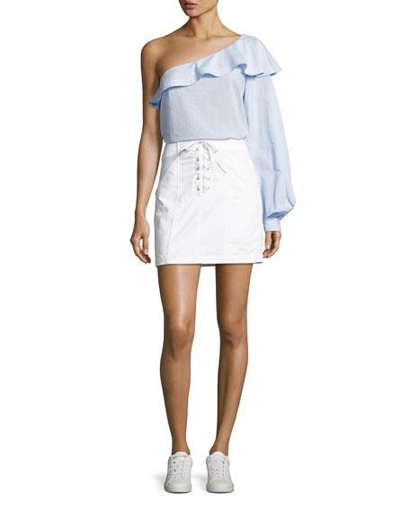 Brielle One-Shoulder Poplin Top, Light Blue