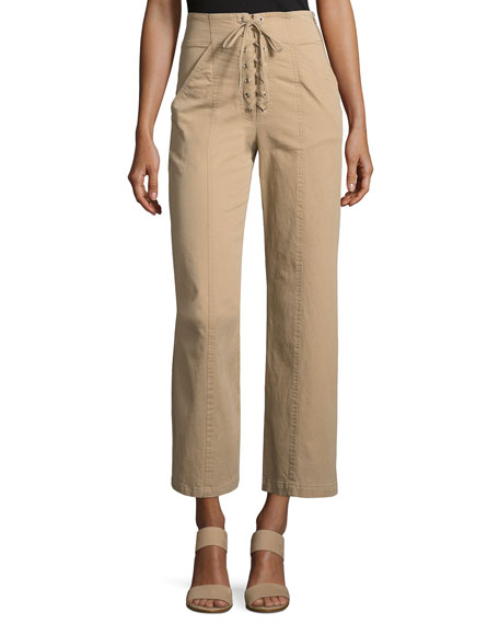 Image 1 of 1: Kyt High-Waist Lace-Front Pants, Khaki