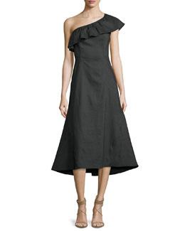 Evangeline Flared One-Shoulder Dress, Black