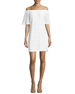 Ario Crocheted Off-the-Shoulder Dress, White