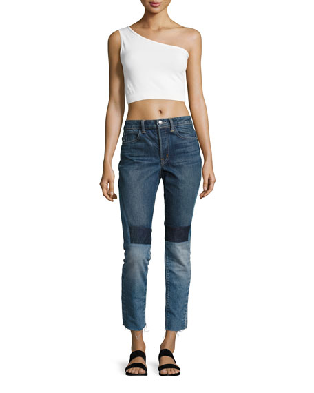 One-Shoulder Cropped Stretch-Knit Bra Top, Off White