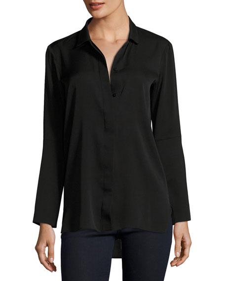 Long-Sleeve Button-Front Silk Shirt