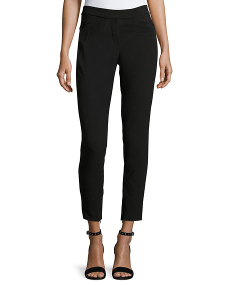 Slim-Fit Ankle Pants w/ Paneled Waist Detail
