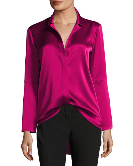Long-Sleeve Button-Front Satin Shirt