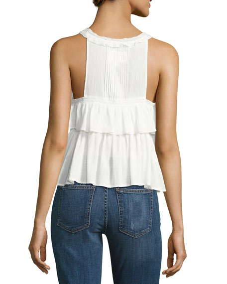 The Lace Sleeveless Cotton Top, White