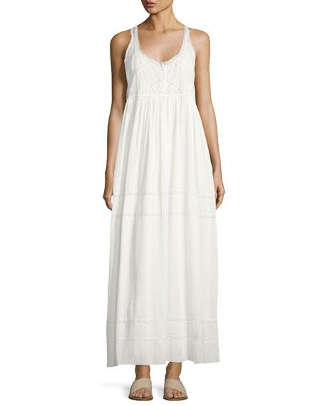Current/Elliott The Lace Cotton Maxi Dress, White