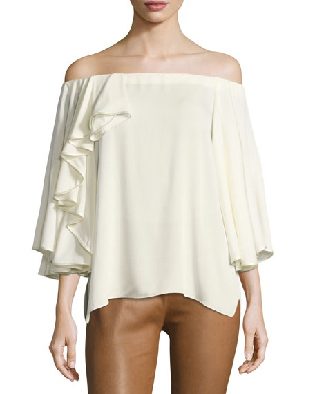 Off-the-Shoulder Ruffled Silk Georgette Blouse