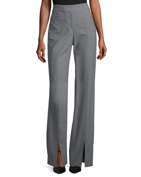 Straight-Leg Suiting Pants w/ Front Slits