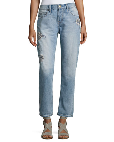 The Crossover Harrison Jeans W/ Embroidery, Indigo