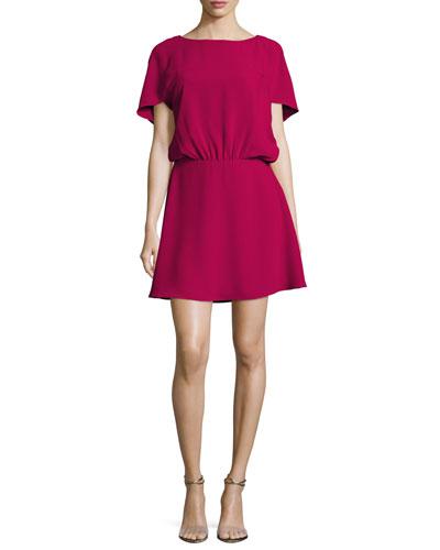 Bateau-Neck Cape-Sleeve Flowy Dress