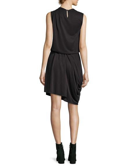 Sleeveless Mock-Neck Draped Knit Dress