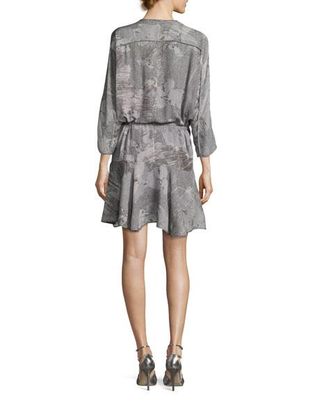 V-Neck Printed Dress w/ Ruffled Skirt