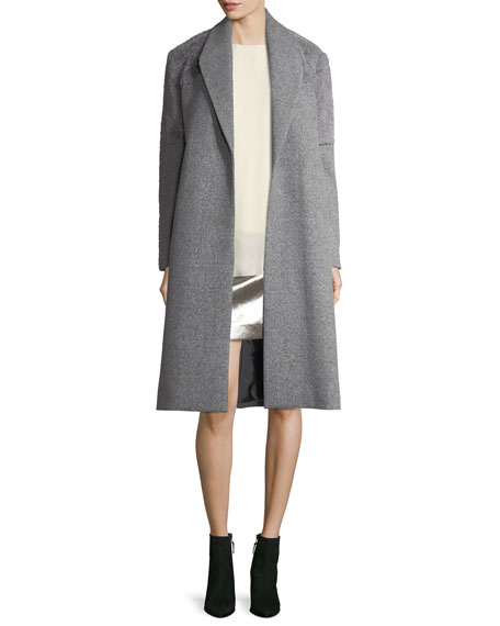Halston Heritage Wool-Blend Faux-Fur Combo Coat