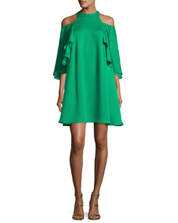 Cutout Cold-Shoulder Swing Cocktail Dress, Viridian