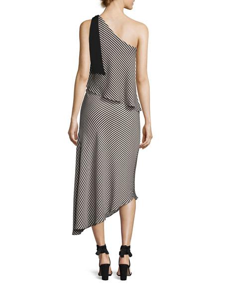 Halston Heritage Striped One Shoulder Asymmetric Cocktail Dress