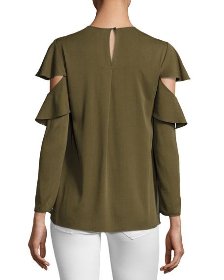 Long-Sleeve Ruffle-Sleeve Georgette Top