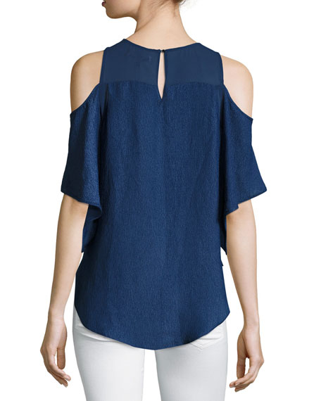 Short-Sleeve Cold-Shoulder Georgette Top