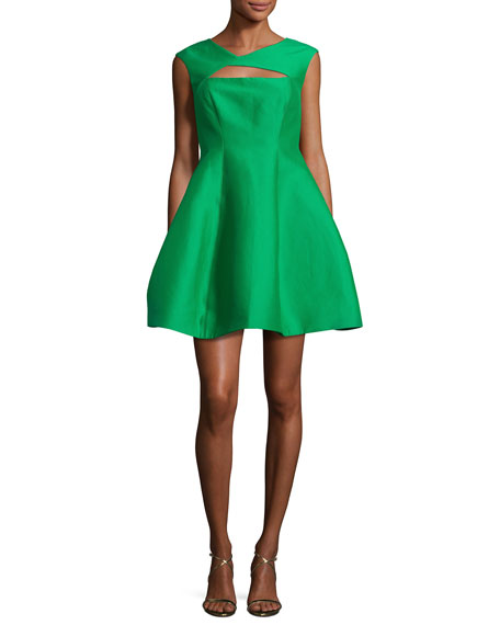 Halston Heritage Sleeveless Faille Fit-and-Flare Cocktail Dress,