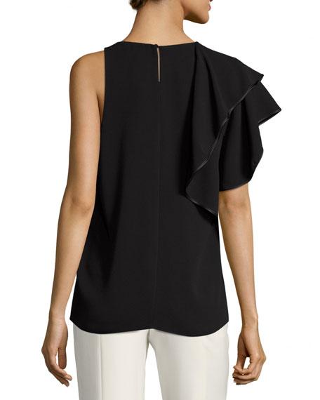 Sleeveless Asymmetric Ruffled Drape Top