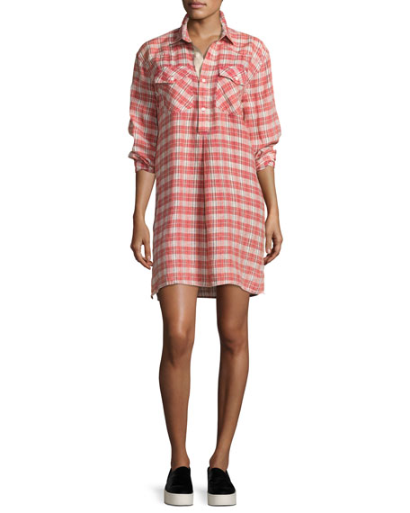 Current/Elliott The Levee Western Plaid Mini Dress, Red