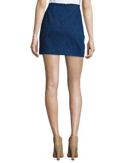 Faux-Wrap Draped Mini Skirt
