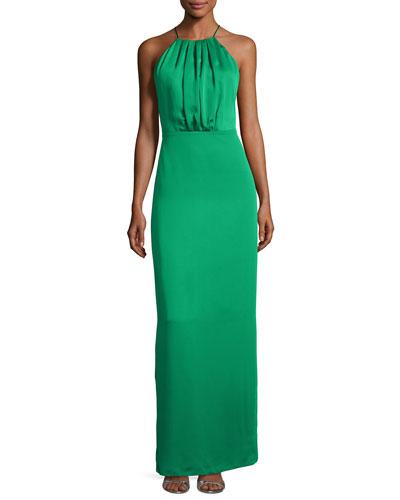 Sleeveless Ruched Satin & Chiffon Column Gown, Viridian