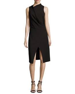 Sleeveless Mock-Neck Draped Front Dress