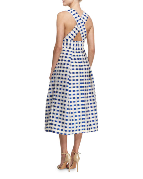 Elisa Sleeveless Gingham Fil Coupe Midi Dress, Cobalt