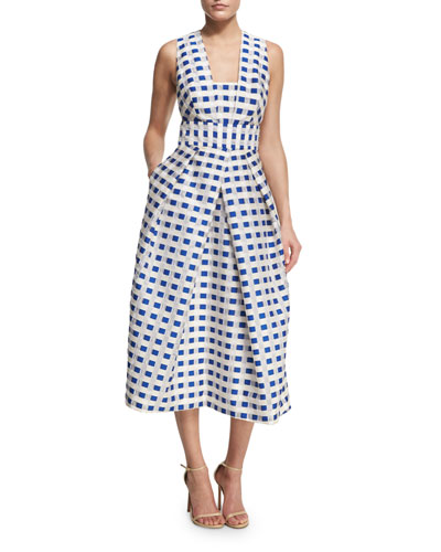 Elisa Sleeveless Gingham Fil Coupe Midi Dress, Cobalt