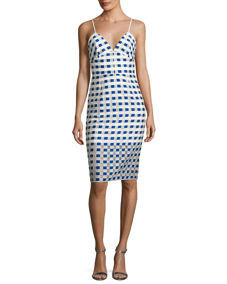 Milly Scarlett Sleeveless Gingham Fil Coupe Cocktail Dress,