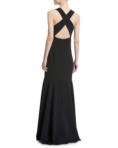 Penelope Sleeveless Italian Cady Mermaid Gown, Black