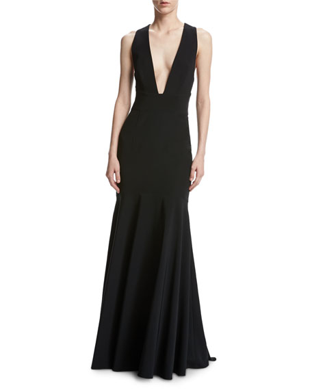 Penelope Sleeveless Stretch Jersey Mermaid Gown, Black