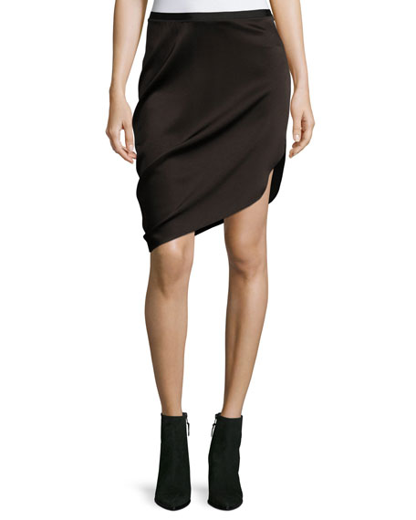 Asymmetric Draped Satin Skirt