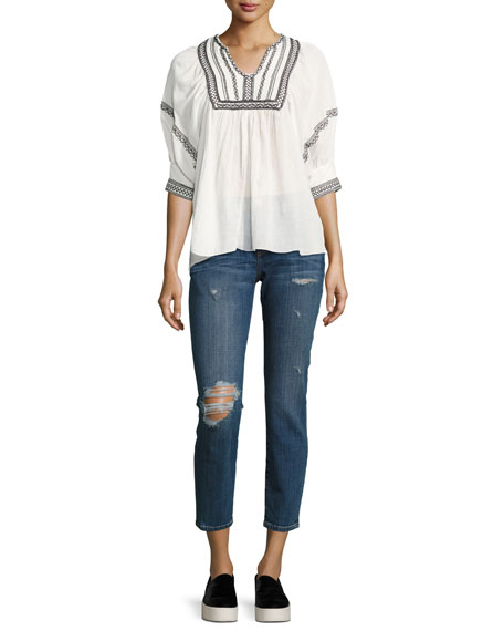 The Easy Stiletto Love Destroy Cropped Skinny Jeans