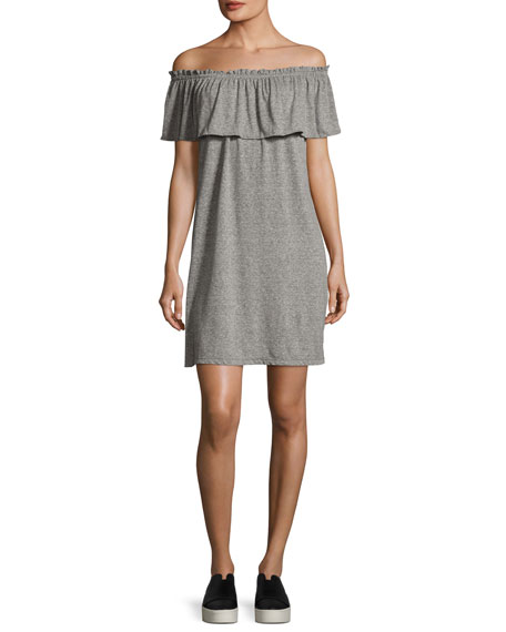 The Ruffle Off-the-Shoulder Dress, Gray
