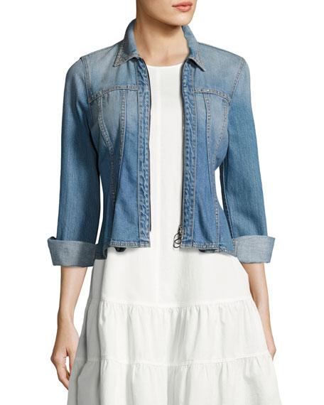 Rebecca Taylor Denim Long-Sleeve Peplum Zip Jacket, Blue
