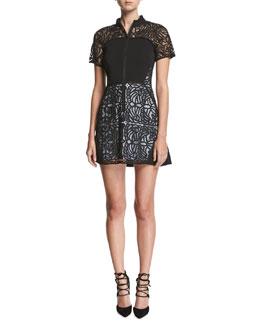 Jude Short-Sleeve Zip-Front Lace Mini Dress