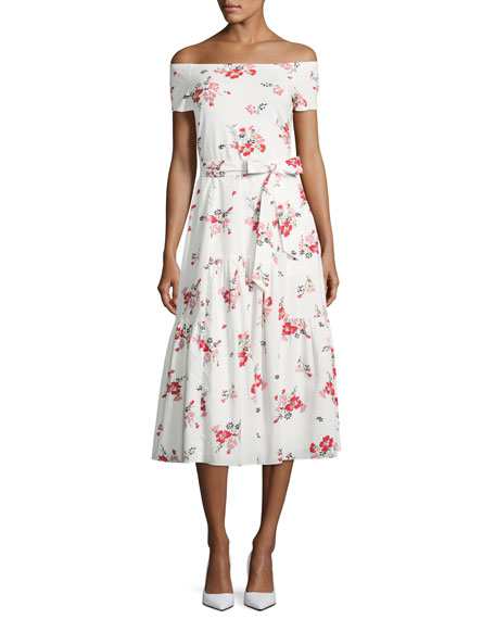 Rebecca Taylor Margurite Off-the-Shoulder Floral Jersey Midi
