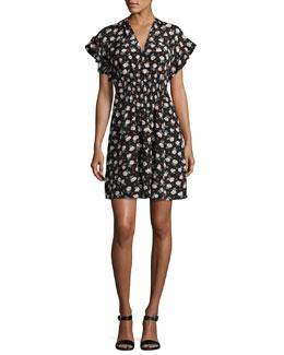 Rosalie Sleeveless V-Neck Poplin Dress, Multi