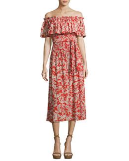 Cherry Blossom Off-the-Shoulder Silk Dress, Multi