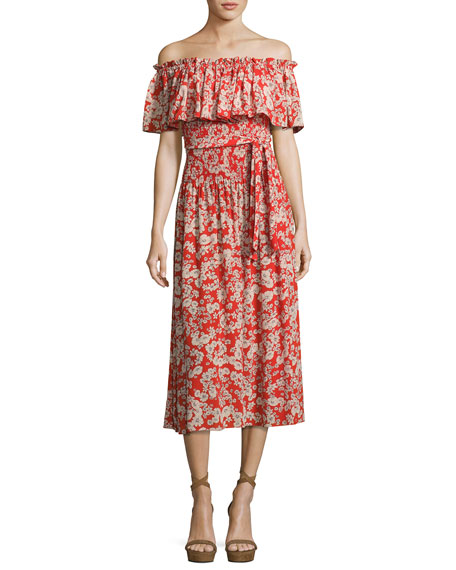 Rebecca Taylor Cherry Blossom Off-the-Shoulder Silk Dress, Multi