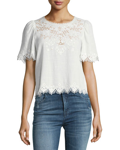 Amora Short-Sleeve Embroidered Top