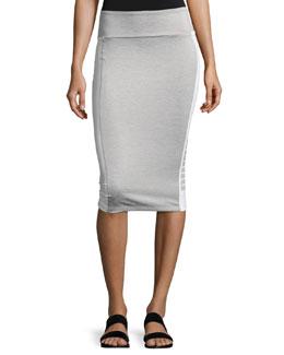 Archive Logo Pencil Midi Skirt, Light Gray
