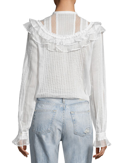 Pintuck Ruffled Cotton Shirt, White