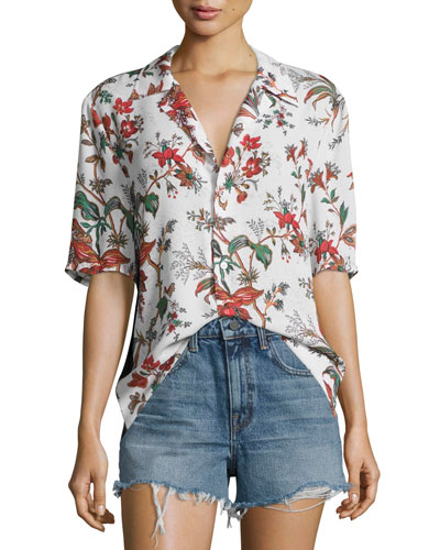 Billy Short-Sleeve Printed Top, Multipattern