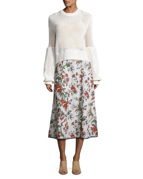 Fluid Floral-Print Midi Skirt, Multipattern