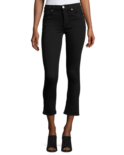 Harper High-Rise Crop Baby Kick-Flare Jeans, Black