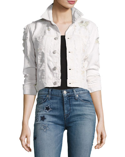 Garrison Destroyed Cropped Denim Jacket